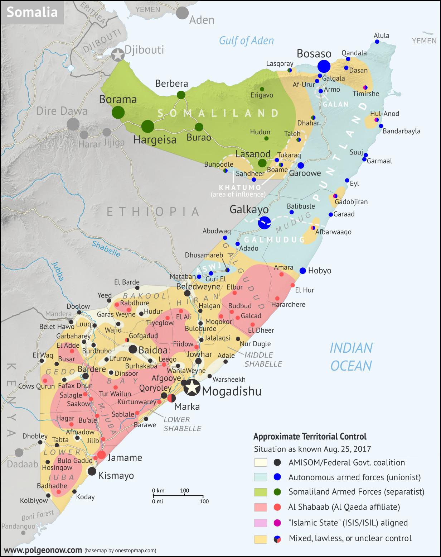 Al Shabaab in Somalia: mappa